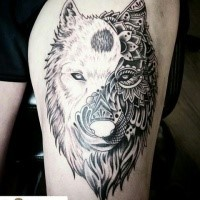 Enormous amazing looking thigh tattoo of white wolf stylized with floral ornaments