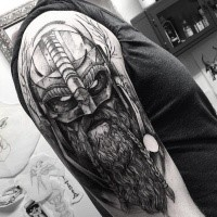 Enormous black ink engraving style shoulder tattoo of mystical warrior