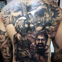 Enormous colored detailed 300 Spartans movie themed tattoo on whole back area