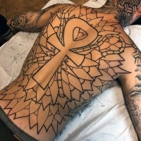 Enormous creative designed whole back tattoo of Egypt amulet with leaves