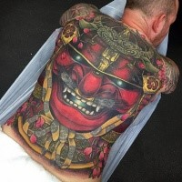 Enormous multicolored whole back tattoo of demonic samurai warriors mask