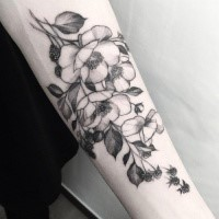Enormous painted by Zihwa forearm tattoo of cool flowers