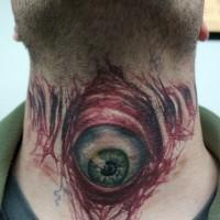 Evil eyeball tattoo on throat healed by graynd