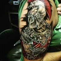 Excellent detailed accurate looking colored ancient Roman warrior tattoo on shoulder zone