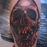 Skull with eye in mouth  by graynd