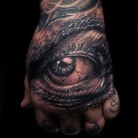 Eye tattoo on the hand by hatefulss