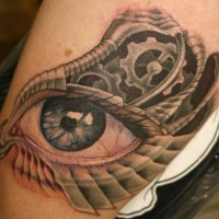 Eyeball tattoo on the foot
