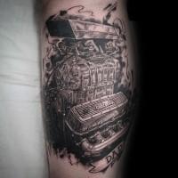 Fabulous realism style black and white leg tattoo of powerful car engine