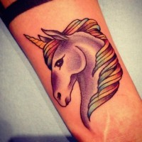 Fairy tale unicorn with rainbow colored mane detailed tattoo