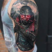 Fallout theme tattoo on shoulder