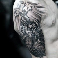 Fantastic creative painted upper arm tattoo of ancient man with tiger helmet and DNA shaped tree