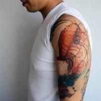 Fantastic designed multicolored jellyfish tattoo on shoulder