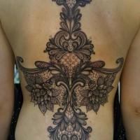 fantastic odisegno molto dettagliato floreale tatuaggio pieno di schiena