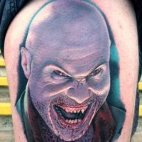 Fantastic horror movie like bloody vampire portrait tattoo on thigh