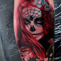 Fantastic illustrative style forearm tattoo of Mexican traditional woman portrait
