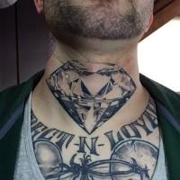 Fantastic painted black ink diamond tattoo on neck