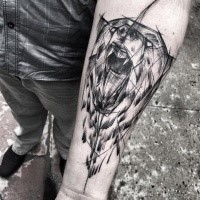 Fantastic painted by Inez Janiak sketch tattoo of roaring bear