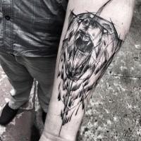 Fantastische Bemalung von Inez Janiak Skizze Tattoo brüllender Bär