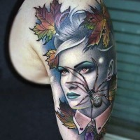 Fantastic painted colored woman portrait tattoo with creepy spider on arm