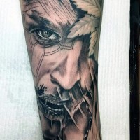 Fantastic painted creepy and mystical vampire tattoo on arm