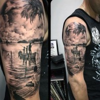 Fantastic very realistic looking black and white fishing family tattoo on shoulder area