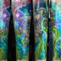 Fantastischer im  Illustration Stil farbige Astronaut mit grünem Alien Oktopus