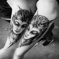 Fantasy style black ink painted by Inez Janiak arm tattoo of woman with owl helmet