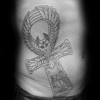Fantasy style black ink side tattoo of mystical cross stylized with animal