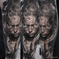 Fantasy style colored arm tattoo of amazing looking woman