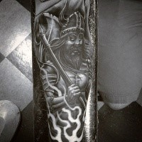 Fantasy style colored arm tattoo of ancient warrior with axe