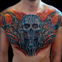 Fantasy style colored chest tattoo of biomechanical skeleton