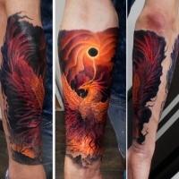 Tatuaggio avambraccio colorato di stile fantasy di un bellissimo uccello fenice