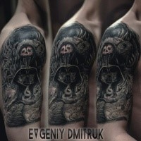 Fantasy style colored shoulder tattoo of mystical warrior