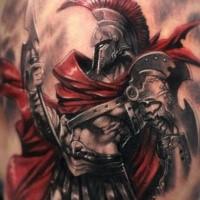 Fantasy style colored shoulder tattoo of big warrior