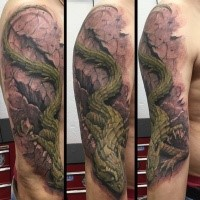 Fantasy style colored shoulder tattoo of large lizard