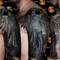 Fantasy style colored shoulder tattoo of big angel warrior
