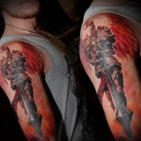 Fantasy style colored shoulder tattoo of fantasy angel warrior