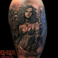 Fantasy style colored shoulder tattoo of sexy angel woman warrior