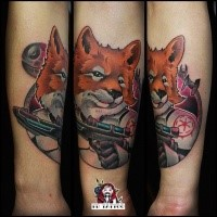 Fantasy style colored Storm Trooper like fox tattoo on forearm