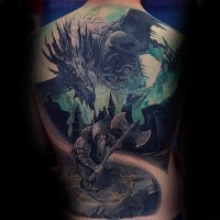 Fantasy style colored whole back tattoo of warrior with dragon