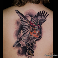 Fantasy style colored whole back tattoo of bird with jewelry