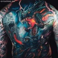 Fantasy style colored whole back tattoo of evil dragon with warrior