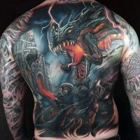 Fantasy style colored whole back tattoo of dragon and old castle