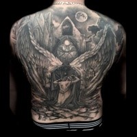 Fantasy style detailed black ink whole back tattoo of dead woman with angel and church