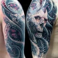 Fantasy world very detailed colored evil demon tattoo on shoulder