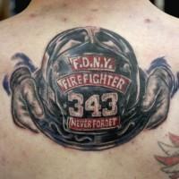 Fdny symbol tattoo on back