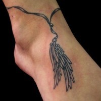 Feather bracelet tattoo for ankle