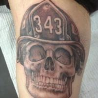 Firefighter memorial tattoo on arm