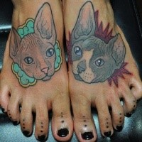 For girls style colored feet tattoo of various cats