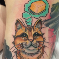 For girls style colored tattoo of cat with butter